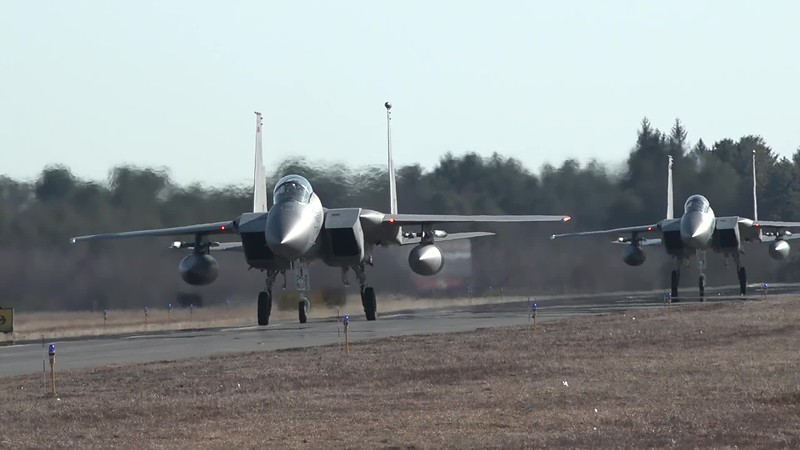 2-27-18...four F-15s taxiing, taking off and landing in the p.m....with Cody