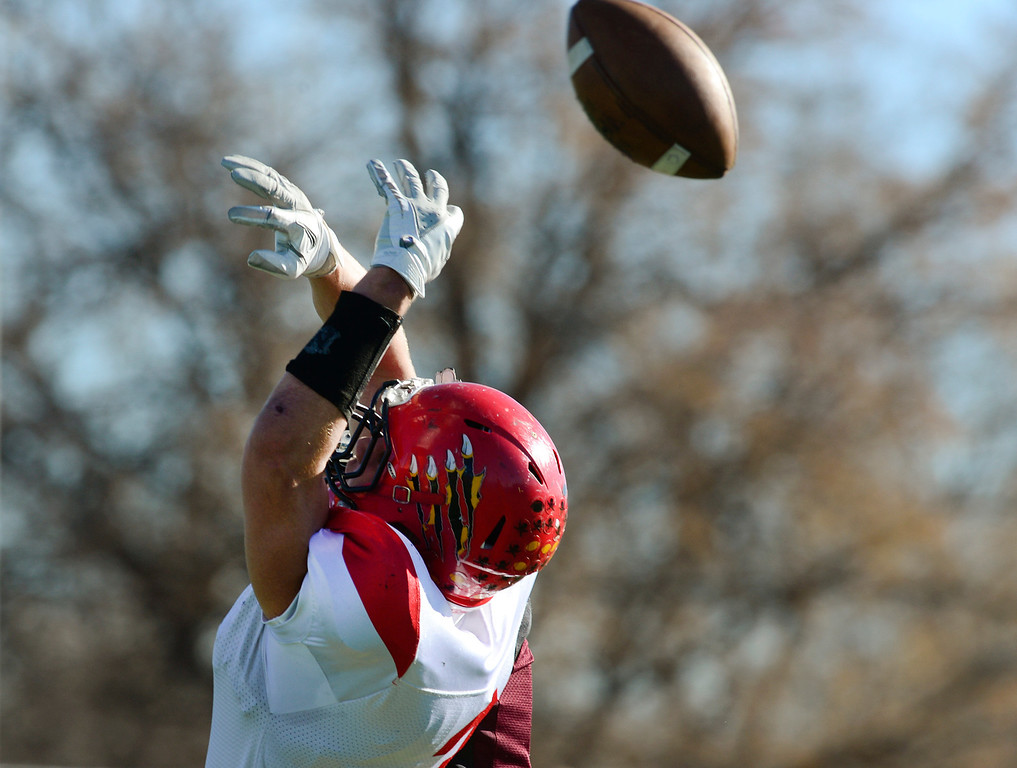 . A pass to Coronado\'s Sam Smith is broken up by Silver Creek\'s Sebastian Metcalf in the first quarter of the Class 3A state championship game Saturday Nov. 30, 2013 at Everly-Montgomery Field.  (Lewis Geyer/Times-Call)