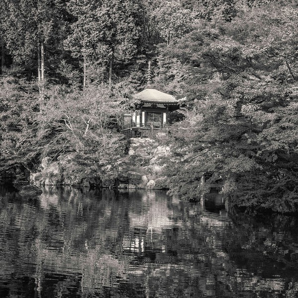 Daigoji Temple. Chapel with reflection