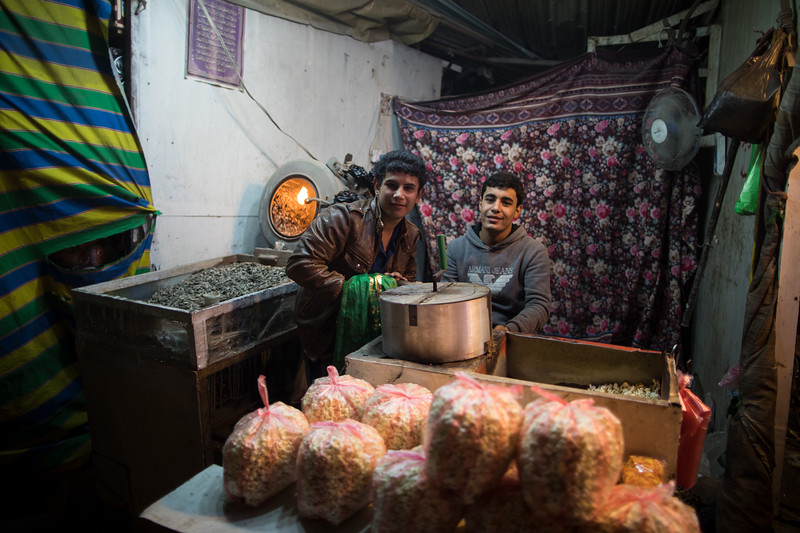 A shop selling fresh popcorn in the city of Karbala, Southern Iraq.