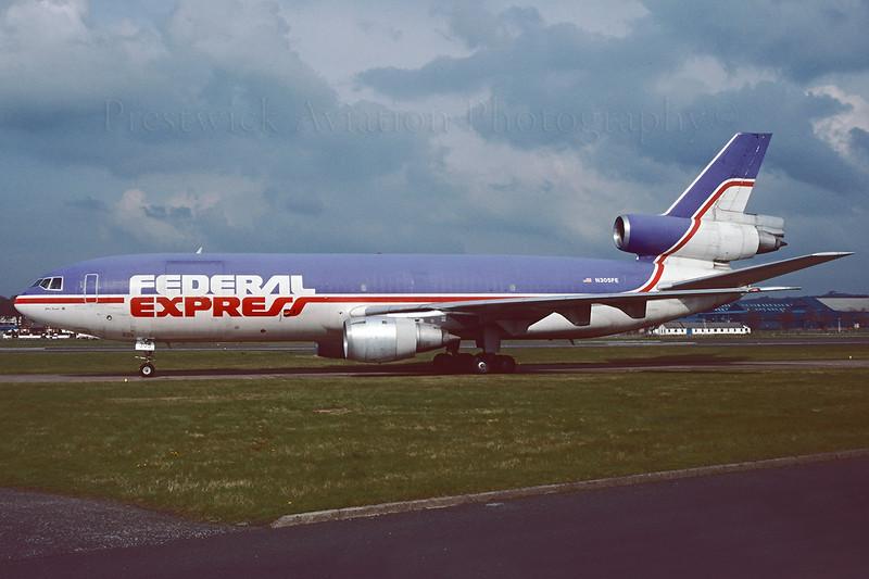 N305FE. McDonnell Douglas DC-10-30CF. Federal Express. Prestwick. May 1993.