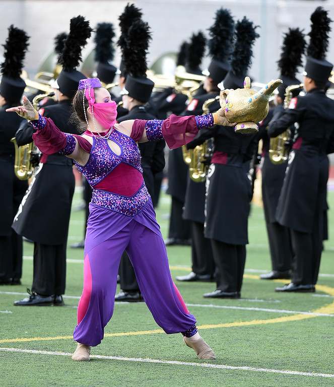 . The Round Rock High School Dragon Band from Round Rock, Texas performing Tuesday, December 30, 2014. Bandfest presented by REMO will feature the bands selected to participate in the 2015 Rose Parade. Over the course of two days, each band, along with its auxiliary performers, will present the field show that has led to its success.(Photo by Walt Mancini/Pasadena Star-News)