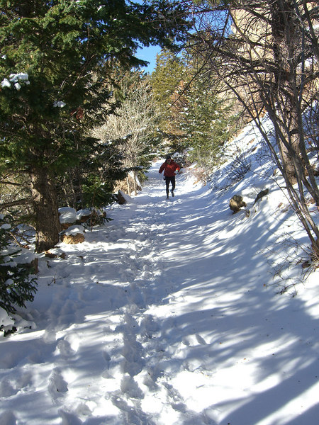 Yep, there are people who run the lower section of the Barr Trail in running shoes even in winter.