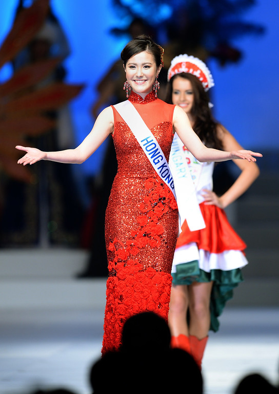 . Clad in national costume, Lau Pui Yuet of Hong Kong appears on stage during the 53rd Miss International Beauty Pageant in Tokyo on December 17, 2013. Miss Aruba was elected Miss National Costume in the beauty pageant.     TORU YAMANAKA/AFP/Getty Images