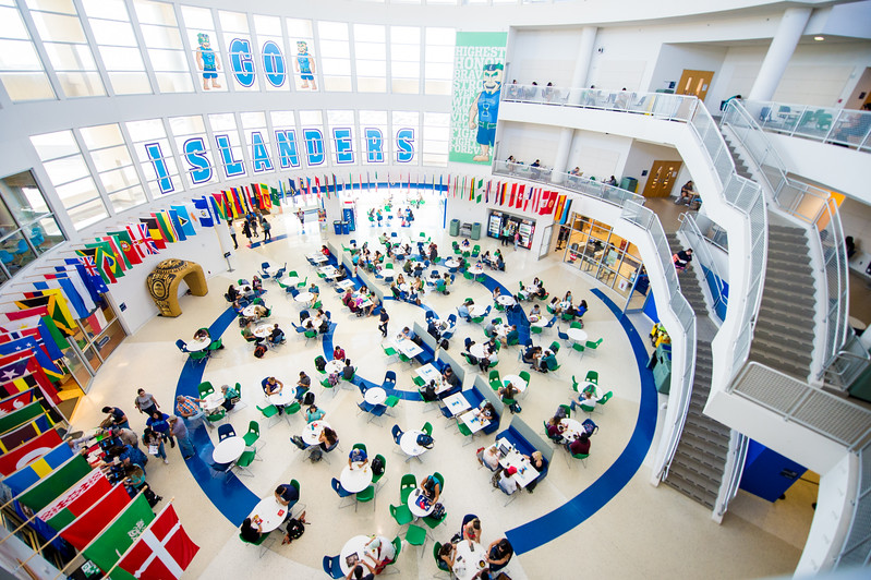 The University Center's rotunda during the lunch hour on campus.