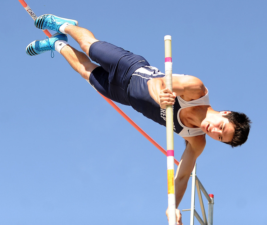 . Flintridge Prep\'s Gareth Weiss competes in the pole vault during the CIF-SS Masters Track and Field meet at Falcon Field on the campus of Cerritos College in Norwalk, Calif., on Friday, May 30, 2014.   (Keith Birmingham/Pasadena Star-News)