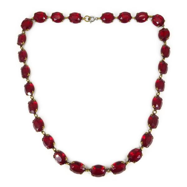 Antique Art Deco Ruby Red Glass Rivière Necklace