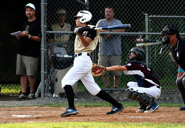 7/11/2018 Mike Orazzi | Staff Edgewood's Gabe Bartolome (8) against Killingly in the Senior League state championship at Barnes Field in Bristol Wednesday night.