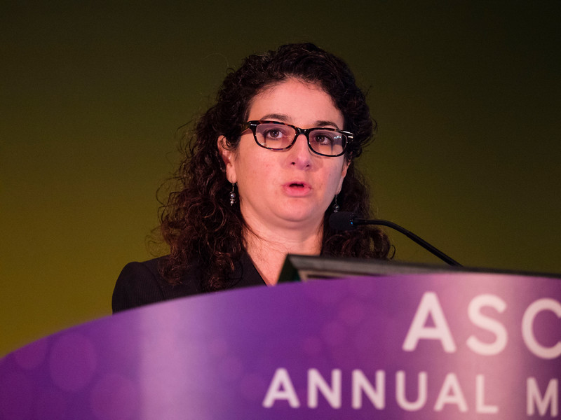 Dara Aisner, MD, PhD, presenting Abstract 11510, Effect of expanded genomic testing in lung adenocarcinoma (LUCA) on survival benefit: The Lung Cancer Mutation Consortium II (LCMC II) experience