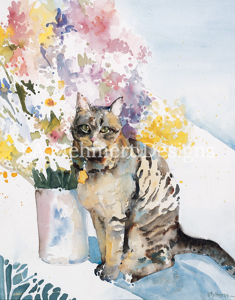 Tabby with Flowers
