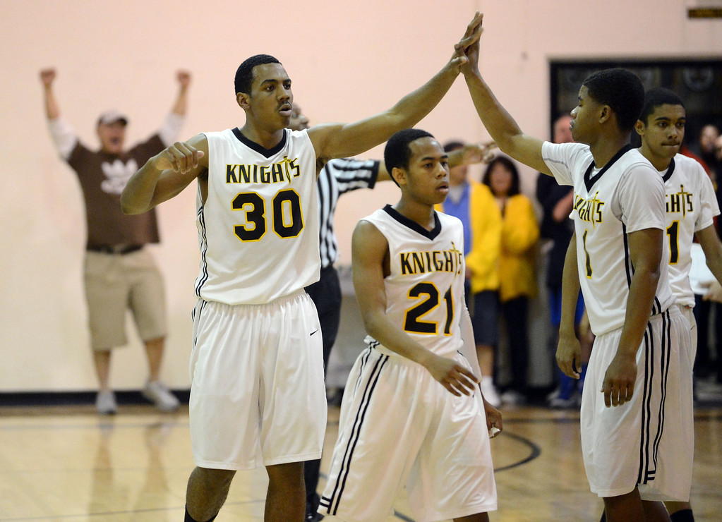 . Bishop Montgomery Lamond Murray, Jr., (30) and teammates looked like they might pul off a win against La Verne Lutheran in a CIF SS Division IV-AA semifinal game in Torrance Friday night. Lutheran stunned Bishop Montgomery 63-59, ending their unbeaten season. 20130222 Photo by Steve McCrank / Staff Photographer