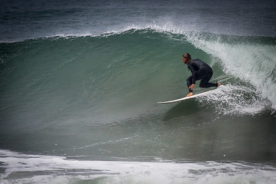 Flying down the barrel of the wave. She was a talented surfer. Manhattan Beach, CA. El Porto.