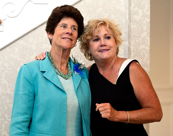6/5/2019 Mike Orazzi | Staff Margi Fletcher and Cindy Bombard during the 130th Annual Awards Dinner held at the Aqua Turf Club in Southington Wednesday evening.