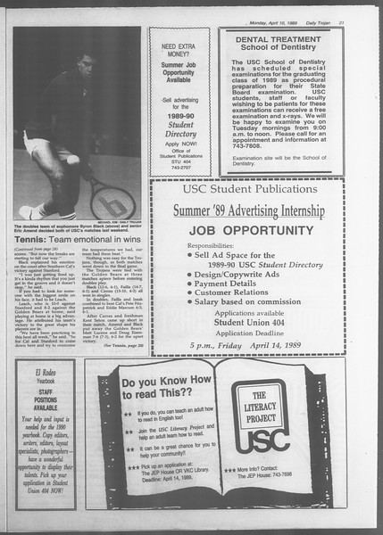 Daily Trojan, Vol. 108, No. 54, April 10, 1989