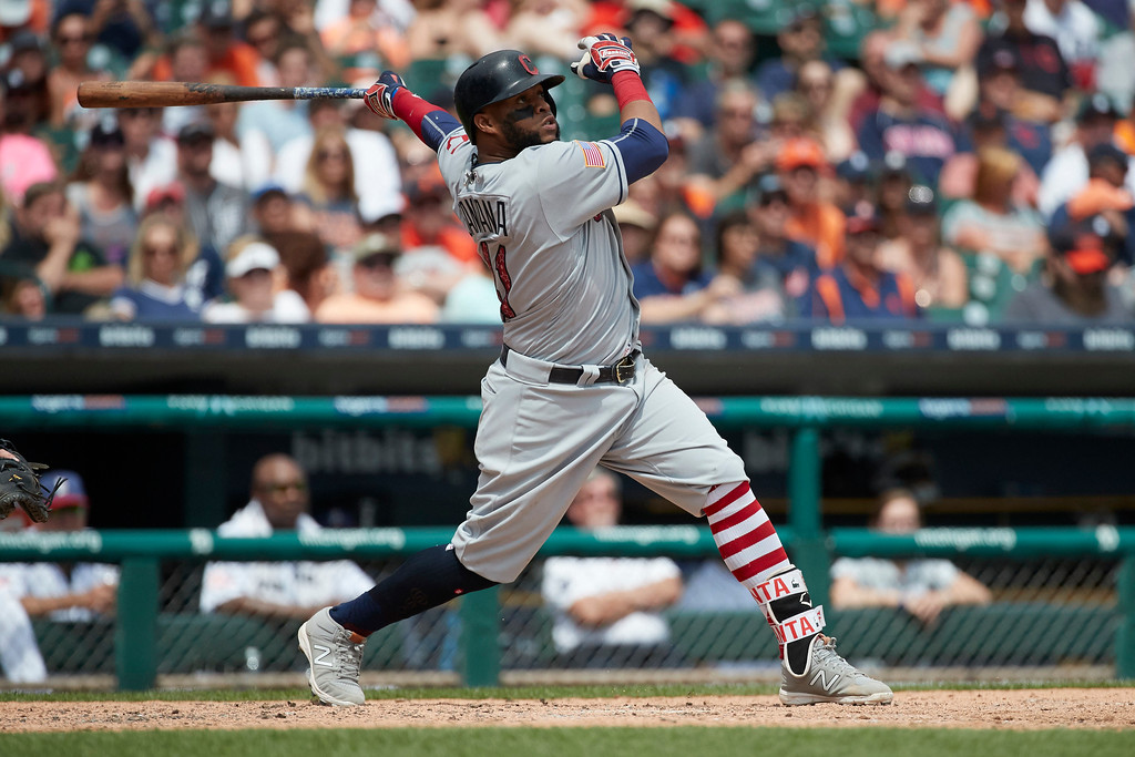 . Cleveland Indians Carlos Santana hits a two run home run in the seventh inning against the Detroit Tigers in the first baseball game of a doubleheader in Detroit, Saturday, July 1, 2017. (AP Photo/Rick Osentoski)