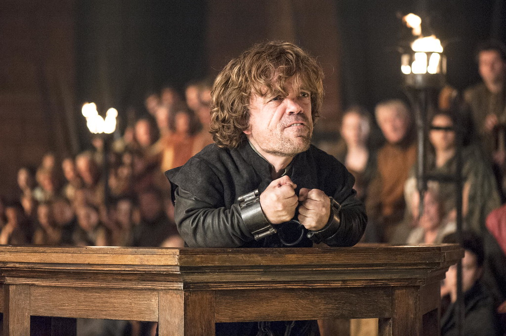 """. In this image released by HBO, Peter Dinklage appears in a scene from \""""Game of Thrones.\"""" The show was nominated for a Golden Globe for best drama series on Thursday, Dec. 11, 2014. The 72nd annual Golden Globe awards will air on NBC on Sunday, Jan. 11. (AP Photo/HBO, Helen Sloan)"""
