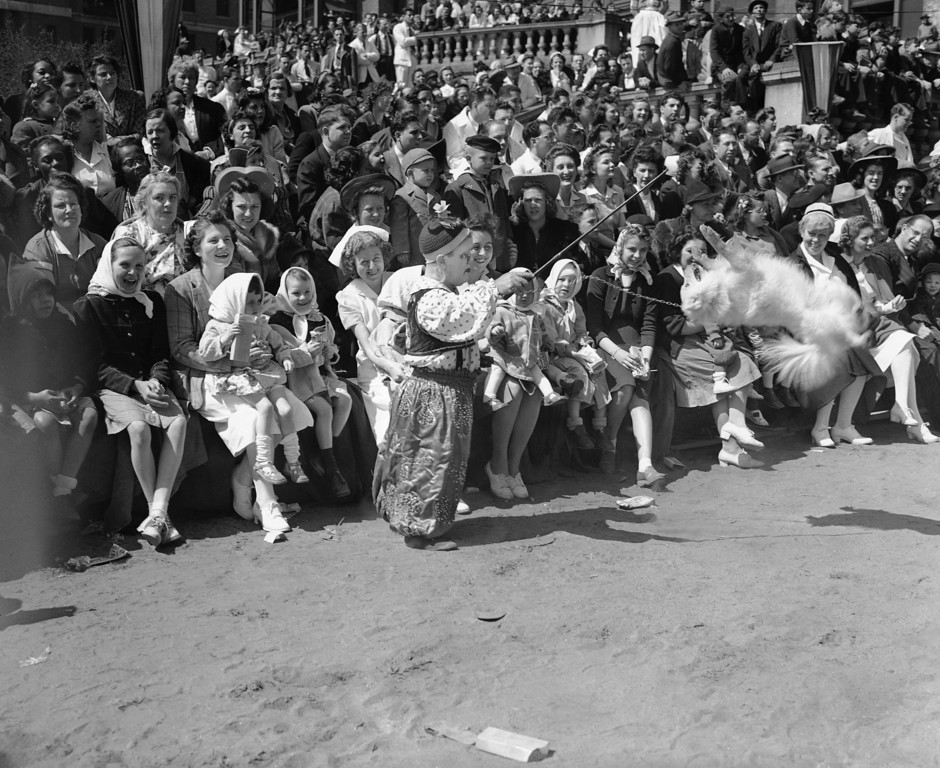 . An amused audience watches a clown from the Ringling Brothers Barnum and Bailey Circus put a trained dog through his paces at Bellevue Hospital in New York on April 23, 1942. Occasion was the annual appearance of the circus at the Hospital to do a full show for the benefit of patients, including many children. (AP Photo)