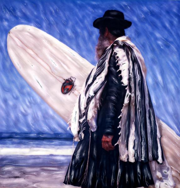 Perseverance ~ Portrait of a Surfing Rabbi. Venice Beach, California