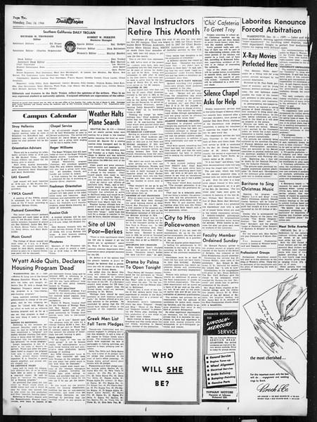 Daily Trojan, Vol. 38, No. 64, December 16, 1946