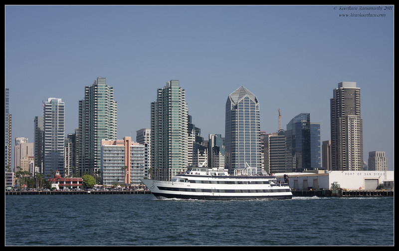 San Diego skyline, as seen from San Diego bay, Whale Watching trip on 'America' sail boat, September 2011