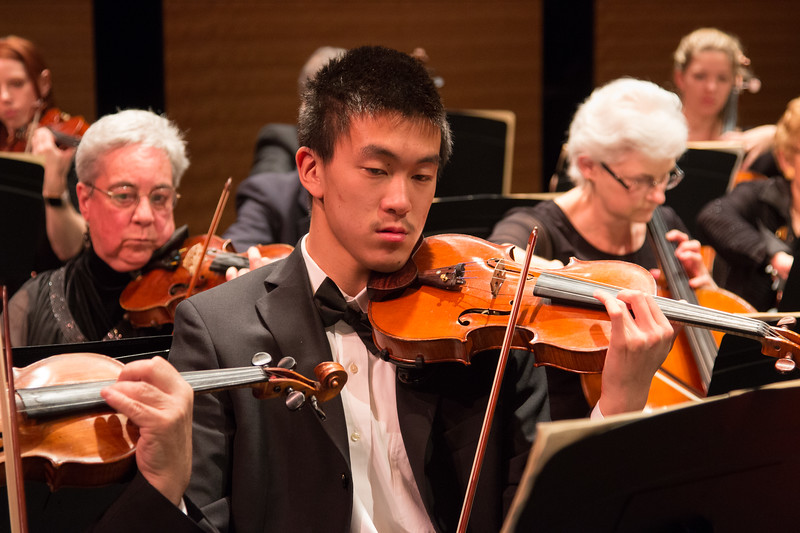 Dalton Yu (with Deborah Friese at left) -- Symphony of the Potomac at the Cultural Arts Center, Silver Spring, MD, February 2018.