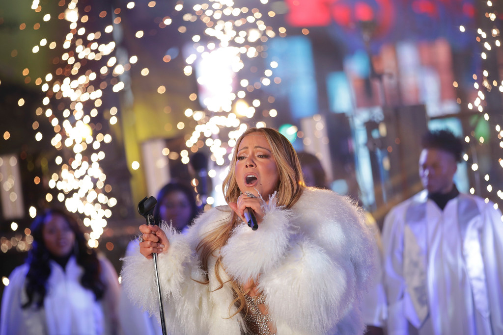 . Mariah Carey performs on stage at the New Year\'s Eve celebration in Times Square on Sunday, Dec. 31, 2017, in New York. (Photo by Brent N. Clarke/Invision/AP)
