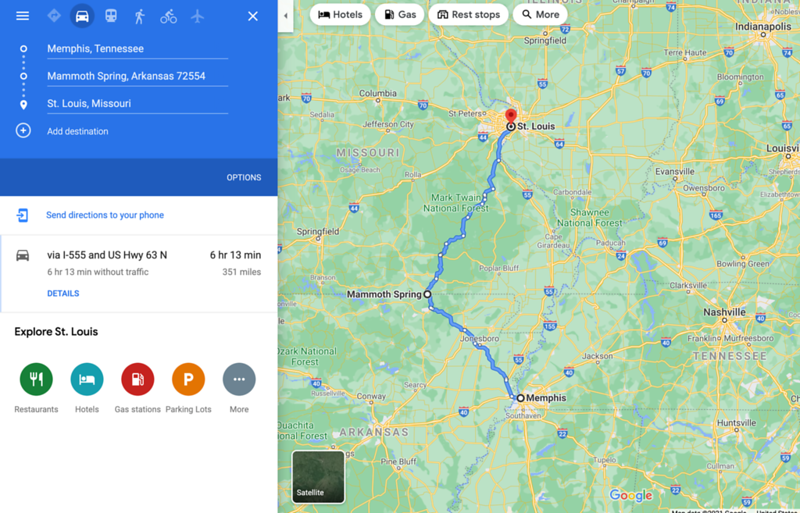 memphis to st louis via mammoth spring map