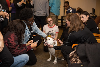 Dr. Riordan and Georgia Practice Stress Relief with Students