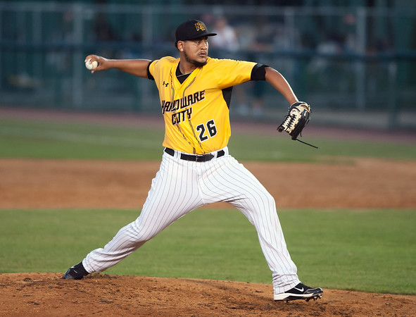 08/28/18 Wesley Bunnell | Staff The New Britain Bees vs the York Revolution on Tuesday night at new Britain Stadium. Rainy Lara (26).