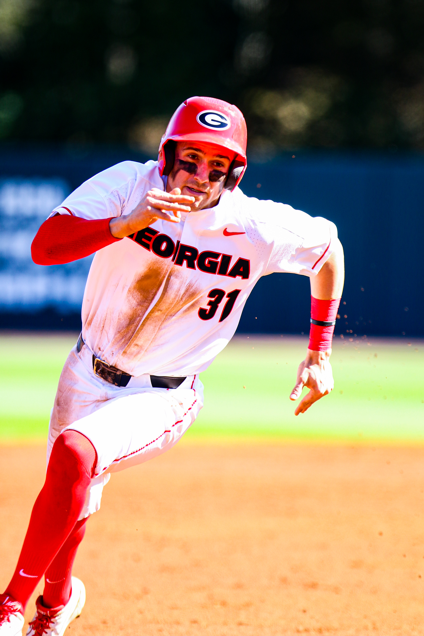 Georgia infielder and outfielder Riley King (31) during a game against UMass at Foley Field in Athens, Ga., on Saturday, March 7, 2020. (Photo by Tony Walsh)