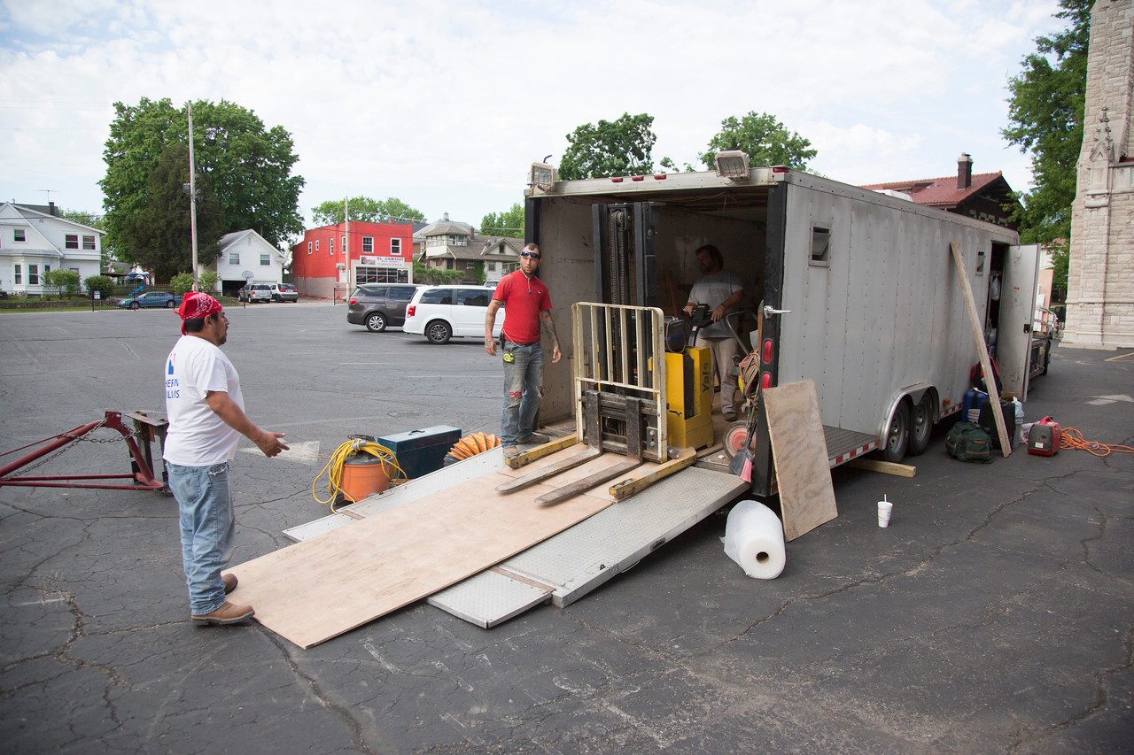 5/8/17<br /> building ramps & loading stuff into the church <br /> gy in red building ramp & walking around -- Kent Matlock, from Boseman, Montana.