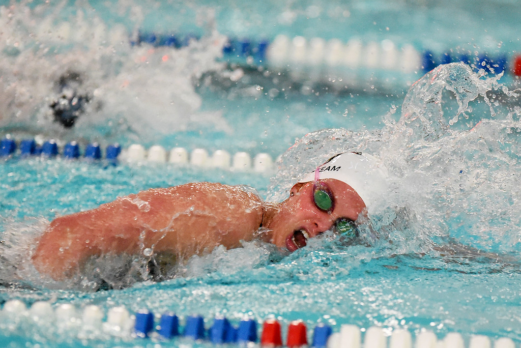 . Fairview\'s Brittney Beetcher took an early lead and was able to hang on for the win of the 500 Yard Freestyle event during the girls 5A State Swim meet held at Edora Pool and Ice Center on Saturday. (Photo by Kira Horvath/ The Denver Post)