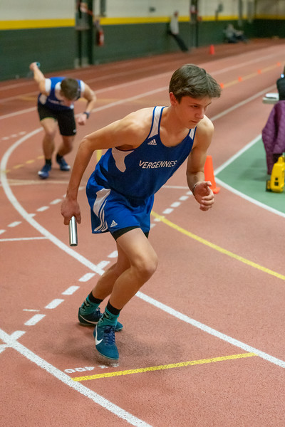 Junior Ben Huston at the start of the 4x400 relay. VUHS won the event with a time of 3:45.11. Vermont Division II Indoor Track State Championships - UVM Gutterson Field House - 2/16/2020