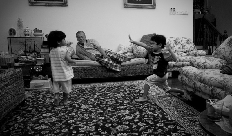 Showing their Kung Fu!  They are certainly not shy demonstrated their newly found 'skill' to their granddad