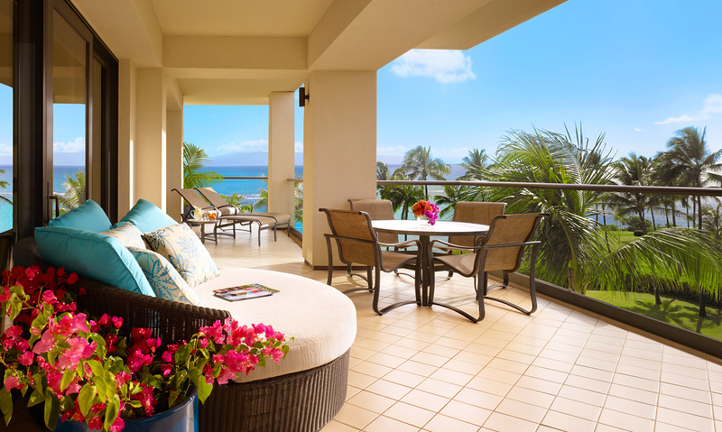Lanai overlooking tropical Maui.