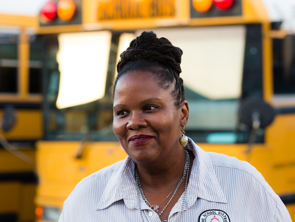 Palm Beach County school bus driver Kerra George talks at the bus compound about the fire that happened on her bus during the morning route on  Wednesday, November 18, 2015. (Joseph Forzano / The Palm Beach Post)