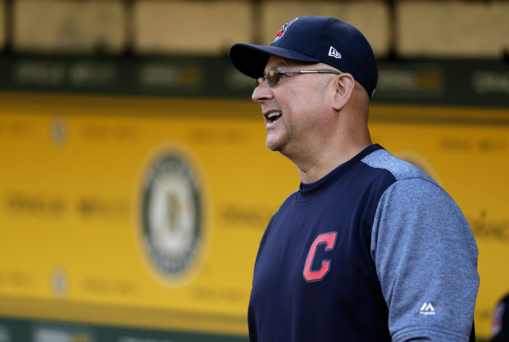. Cleveland Indians manager Terry Francona smiles in the dugout prior to the team\'s baseball game against the Oakland Athletics on Friday, July 14, 2017, in Oakland, Calif. Francona rejoined his team one week after undergoing a minor procedure for an irregular heartbeat. The 58-year-old Francona was supposed to manage the American League during Tuesday\'s All-Star Game but opted out after undergoing a cardiac ablation procedure at the Cleveland Clinic on July 6. (AP Photo/Ben Margot)