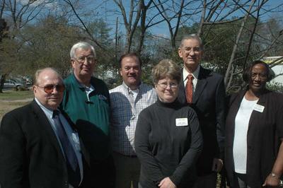 L-R: John Parker (FP City Manager), Donald Judson (FP City Council), Mark Galey, Linda Lord (FP City Council), Millard Fuller, Maudie McCord (FP City Council)