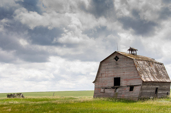 Abandoned Barn under Dark Clouds, Saskatchewan, Canada