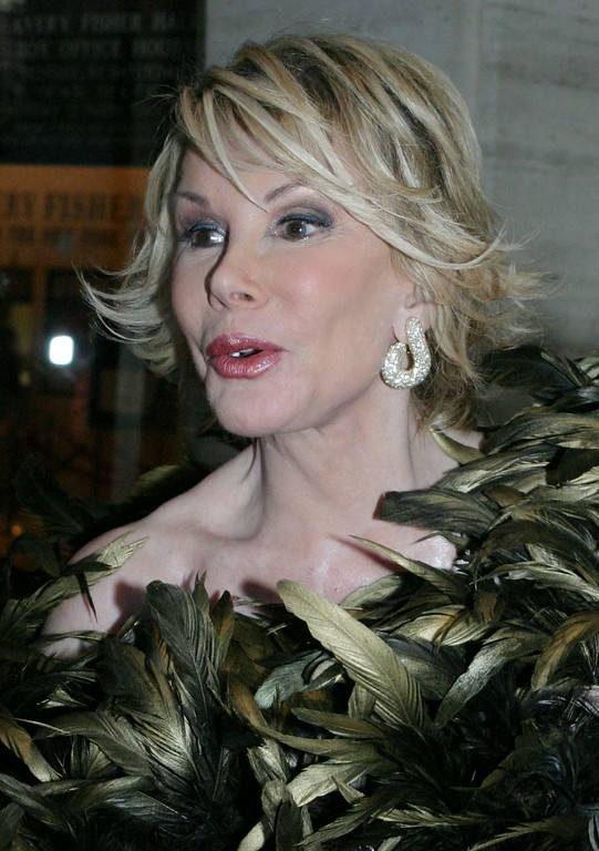 """. Joan Rivers poses for photographers as she arrives for the New York Philharmonic\'s performance of \""""Candide\"""" at Lincoln Center\'s Avery Fisher Hall in New York Thursday May 6, 2004.(AP Photo/Tina FIneberg)"""