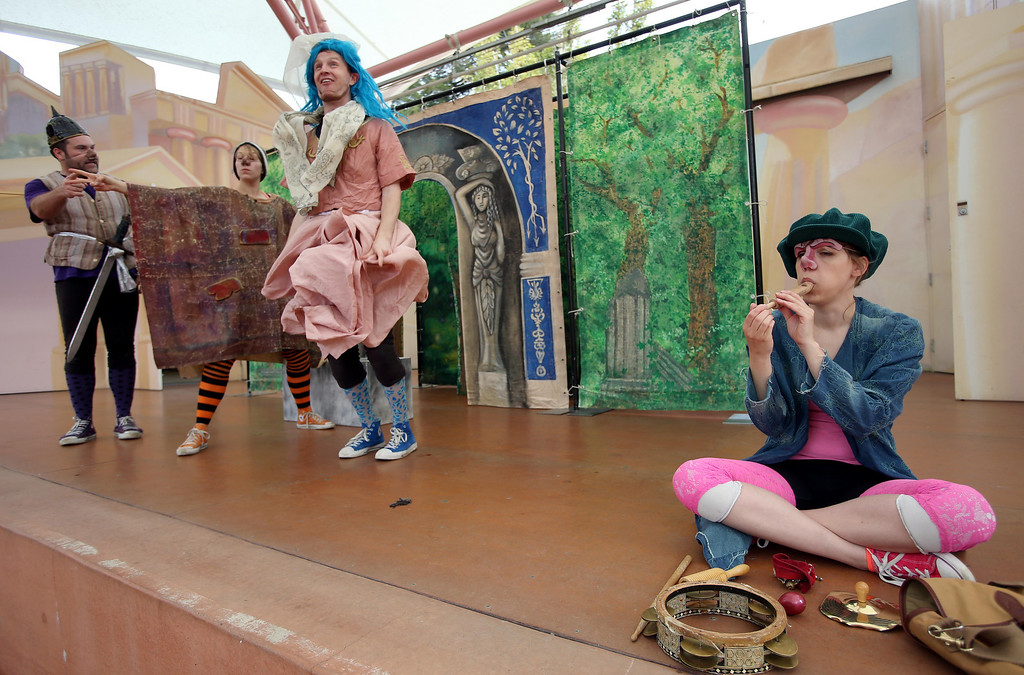 ". Steven Westdahl, Nikki Akraboff, Brandon Mears and Amber Sommerfeld, left to right, perform in San Francisco Shakespeare\'s ""A Midsummer Night\'s Dream\"" on the Aesop\'s Playhouse stage at Children\'s Fairyland in Oakland, Calif., on Friday, March 15, 2013.  (Jane Tyska/Staff)"