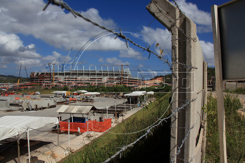 Construction of the Arena Pernambuco stadium in Sao Lourenco da Mata near Recife, Pernambuco state, Brazil, Jan. 10, 2013. The stadium will be used for the Confederations cup in June 2013 and the World Cup in 2014. (Australfoto/Douglas Engle)