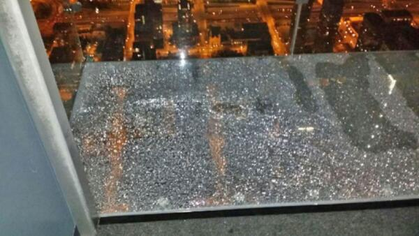 ". <p><b> Visitors to Skydeck Chicago on the 103rd floor of the Willis Tower panicked last week, seeing that the glass floor cracked when � </b> <p> A. A family of tourists stood on it <p> B. High winds blew through the downtown Loop <p> C. It was hit by gunfire from the street <p><b><a href=\'http://www.nbcchicago.com/news/local/chicago-willis-tower-sky-deck-ledge-crack-261079001.html\' target=""_blank\"">LINK</a></b> <p>   (Photo from Instagram)"