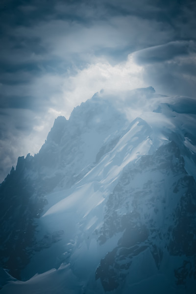 Winter snow storm n Mount Blanc, France