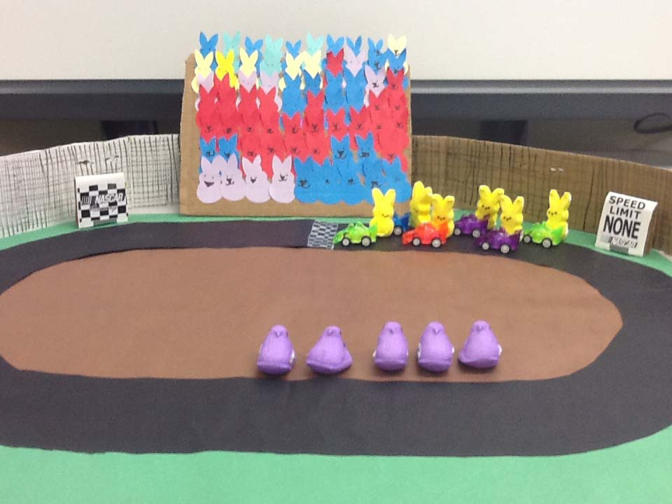 ". ""NASCAR Peeps,\"" by Makinzie M. at Osceola High School in Wisconsin"