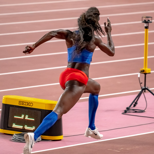 Caterine Ibarguen of Columbia competes in the Women's Triple Jump Final during day nine of 17th IAAF World Athletics Championships Doha 2019 at Khalifa International Stadium on October 05, 2019 in Doha, Qatar. Photo by Tom Kirkwood/SportDXB