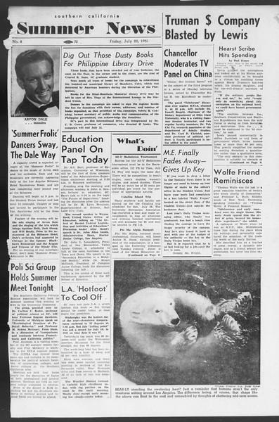 Summer News, Vol. 6, No. 8, July 20, 1951