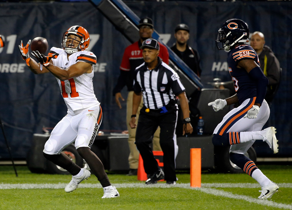 . Cleveland Browns wide receiver Jordan Leslie (11) makes a touchdown reception in the end zone against Chicago Bears cornerback Johnthan Banks (35) during the second half of an NFL preseason football game, Thursday, Aug. 31, 2017, in Chicago. (AP Photo/Charles Rex Arbogast)