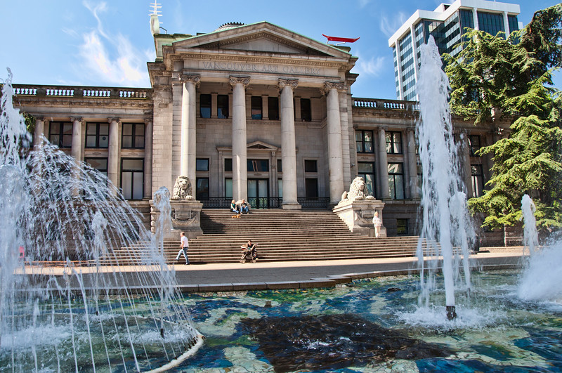 The art museum in Vancouver with its many fountains.