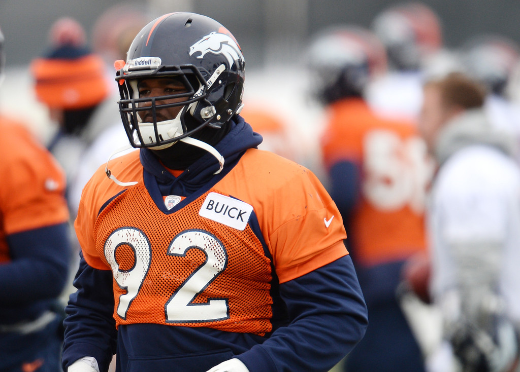 . CENTENNIAL, CO. NOVEMBER 22 : Sylvester Williams of Denver Broncos (92) is in the team practice at the field in Denver Broncos Headquarters at Dove Valley. Centennial, Colorado. November 22, 2013. (Photo by Hyoung Chang/The Denver Post)